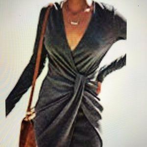 Midi dress - long sleeve,  V neck  twist front